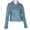 Błękitna kurtka damska wmotocyklowym stylu, zzamkami błyskawicznymi bata, niebieski, 971-9198 - 13