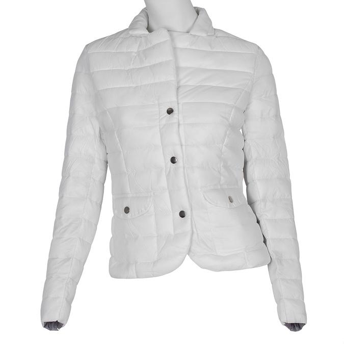 Biała pikowana kurtka zkołnierzykiem bata, biały, 979-1182 - 13