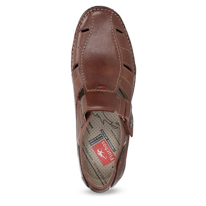 Skórzane sandały na rzepy fluchos, brązowy, 864-4605 - 17