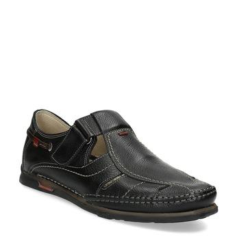 Skórzane sandały zprzeszyciami fluchos, czarny, 864-6605 - 13