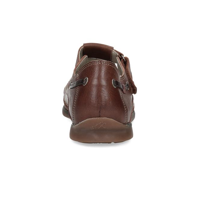 Skórzane sandały na rzepy fluchos, brązowy, 864-4605 - 15
