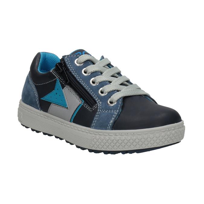 Niebieskie skórzane trampki chłopięce mini-b, niebieski, 416-9603 - 13