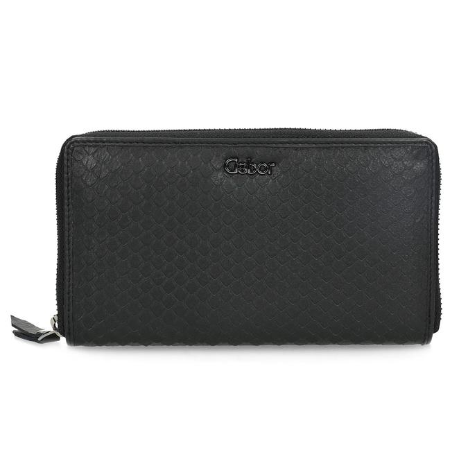 Skórzany portfel damski ofakturze łusek gabor-bags, czarny, 946-6002 - 26