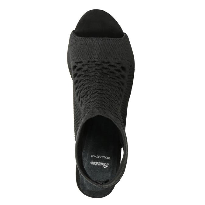Sandały na obcasach, zdzianinową cholewką bata, czarny, 729-6617 - 17