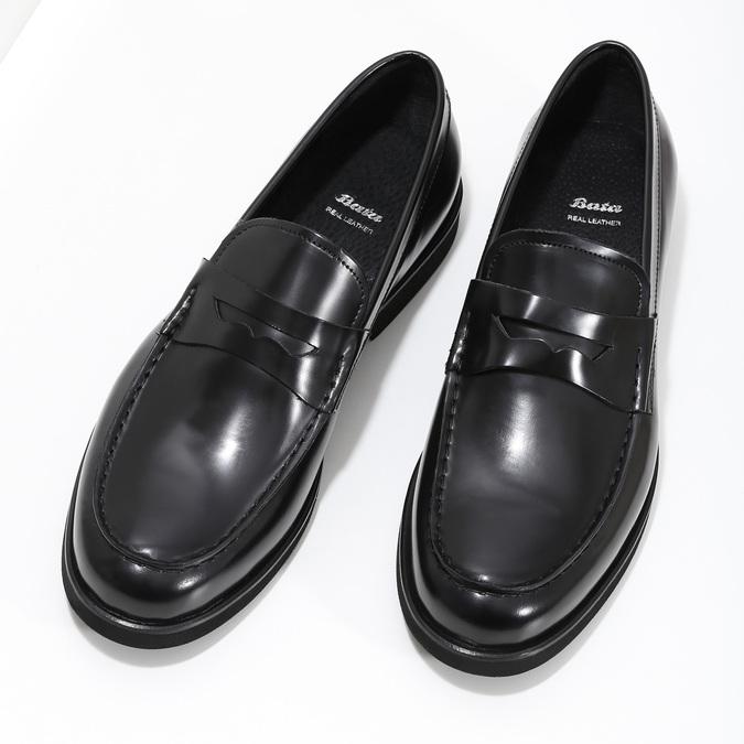 Czarne skórzane mokasyny męskie bata, czarny, 814-6177 - 16