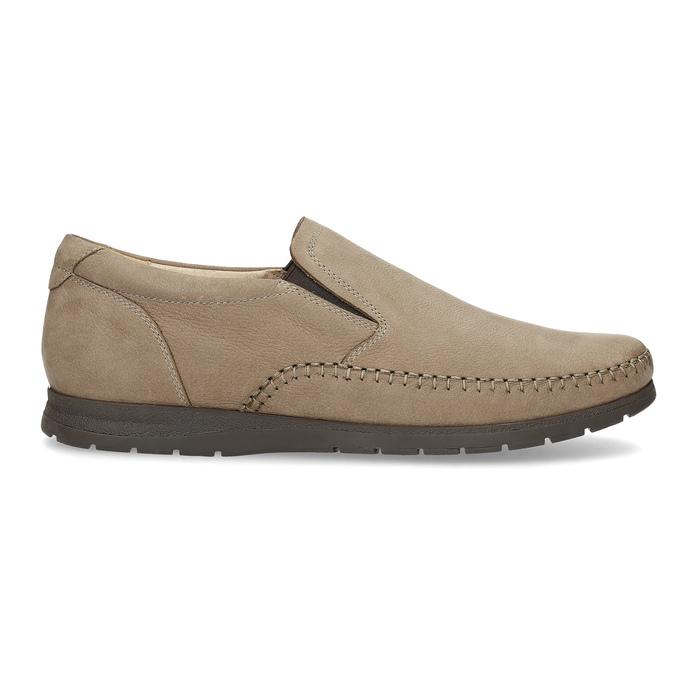 Skórzane mokasyny męskie wstylu loafersów, beżowy, 816-8600 - 19