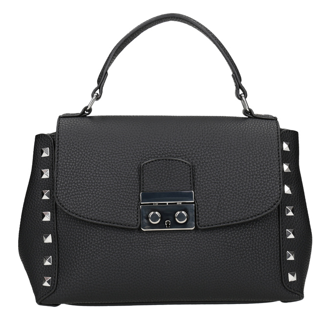 Czarna torebka typu crossbody zćwiekami bata, czarny, 961-6279 - 26