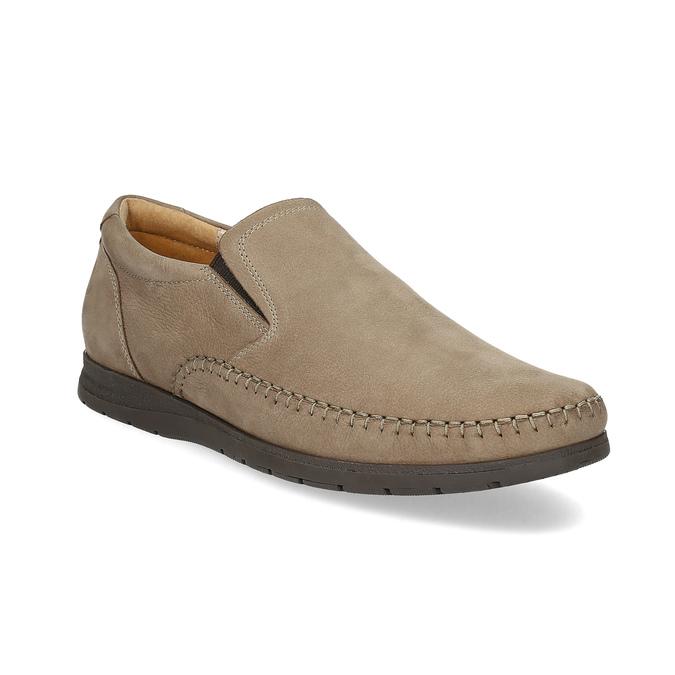 Skórzane mokasyny męskie wstylu loafersów, beżowy, 816-8600 - 13