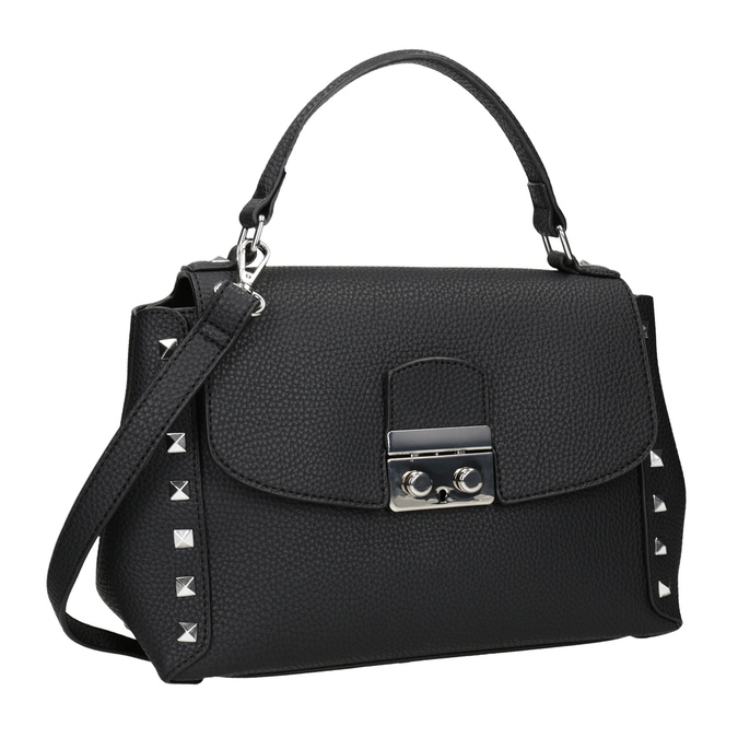 Czarna torebka typu crossbody zćwiekami bata, czarny, 961-6279 - 13
