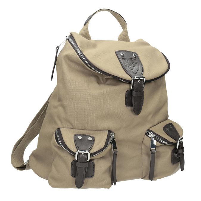 Plecak zmateriału tekstylnego, zkieszeniami bata, beżowy, 969-8685 - 13