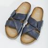 Granatowe skórzane klapki bata, niebieski, 866-9647 - 16
