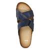 Granatowe skórzane klapki bata, niebieski, 866-9647 - 17