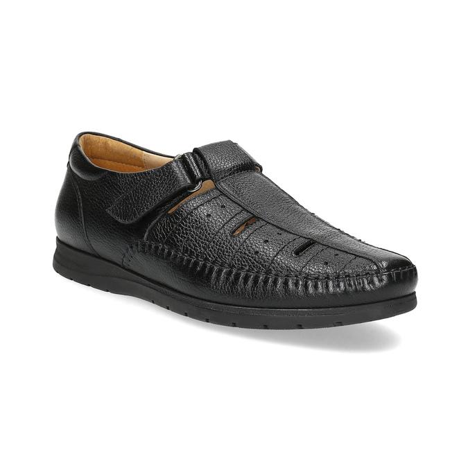 Czarne skórzane sandały męskie na wygodnej podeszwie comfit, czarny, 854-6602 - 13