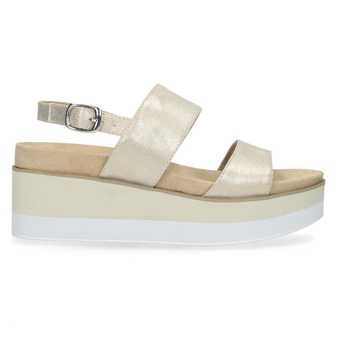 Beżowe metaliczne sandały damskie na platformie bata, złoty, 761-8632 - 19