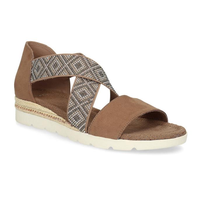 Brązowe sandały zwzorem bata, czarny, 569-6616 - 13