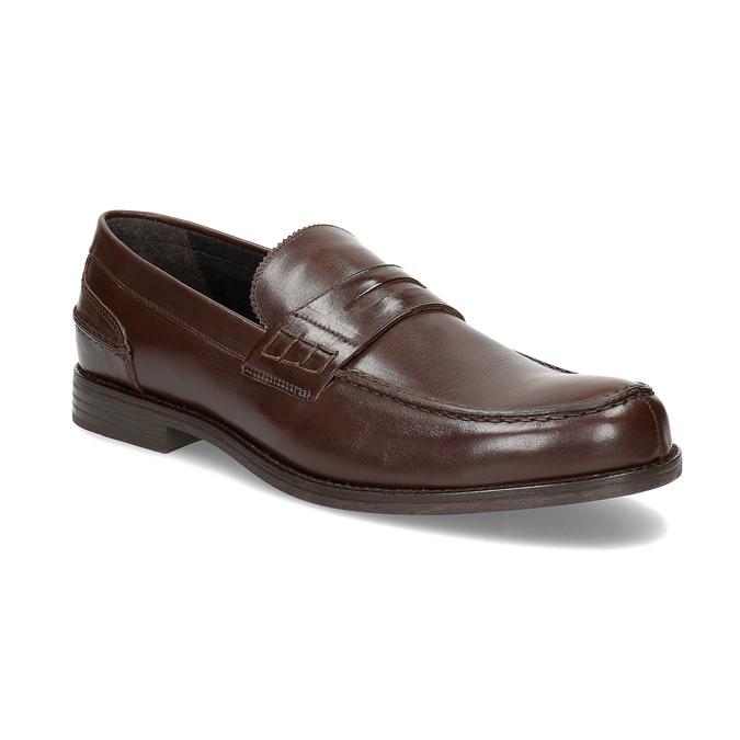 Brązowe skórzane mokasyny męskie bata, brązowy, 814-4128 - 13