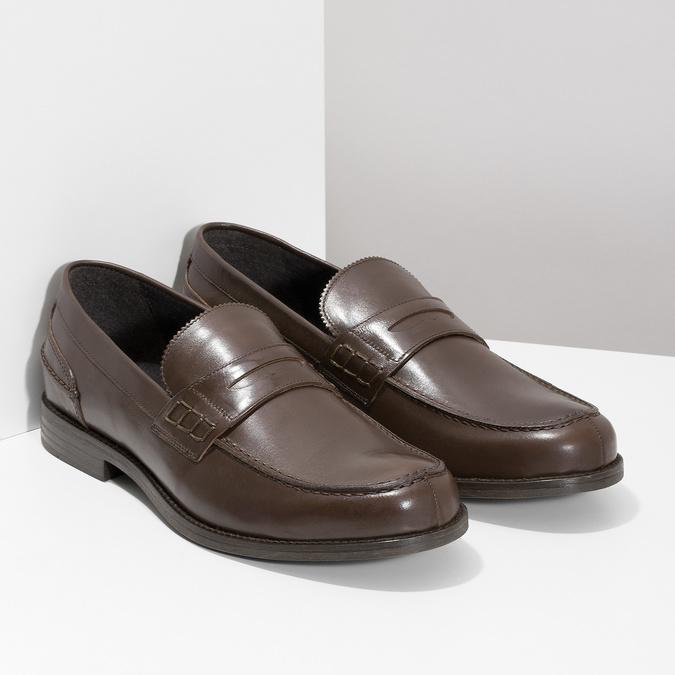 Brązowe skórzane mokasyny męskie bata, brązowy, 814-4128 - 26