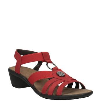 Czerwone skórzane sandały damskie comfit, czerwony, 666-5619 - 13