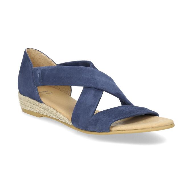 Niebieskie skórzane sandały na koturnach bata, niebieski, 563-9600 - 13