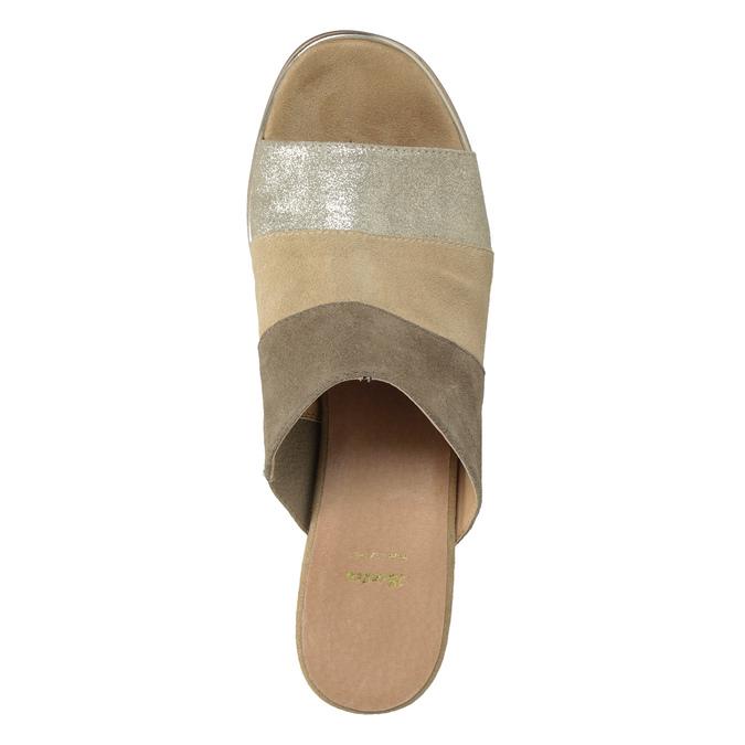 Brązowe skórzane klapki na obcasach bata, brązowy, 666-4625 - 17