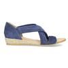 Niebieskie skórzane sandały na koturnach bata, niebieski, 563-9600 - 19