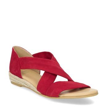 Czerwone skórzane sandały na koturnach bata, czerwony, 563-5600 - 13