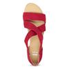 Czerwone skórzane sandały na koturnach bata, czerwony, 563-5600 - 17