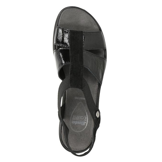 Czarne skórzane sandały na koturnach comfit, czarny, 666-6620 - 17