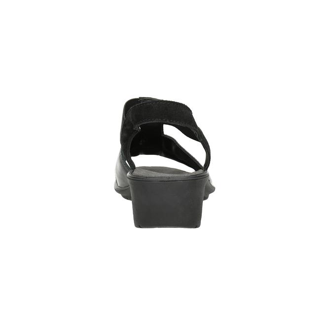 Czarne skórzane sandały na koturnach comfit, czarny, 666-6620 - 15