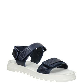 Granatowe sandały na podeszwie zbieżnikiem mini-b, niebieski, 361-9613 - 13