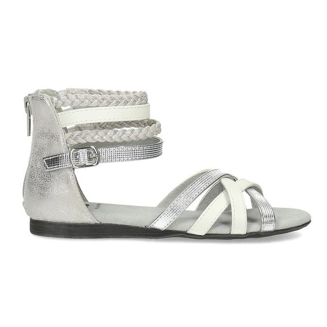 Biało-srebrne sandały dziewczęce mini-b, srebrny, 361-1605 - 19