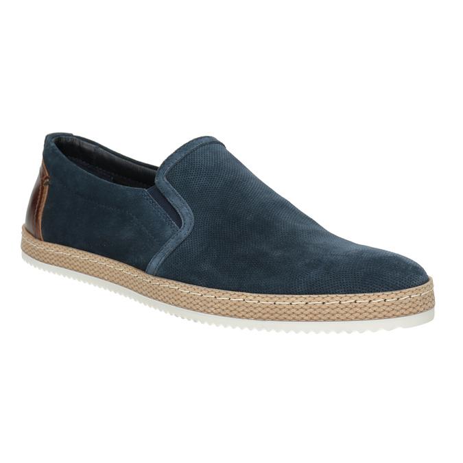 Granatowe zamszowe slip-on męskie bata, niebieski, 833-9602 - 13