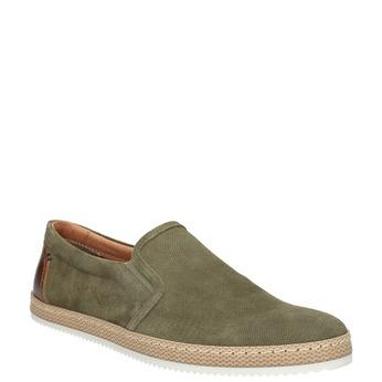 Zamszowe slip-on męskie wkolorze khaki bata, zielony, 833-7602 - 13