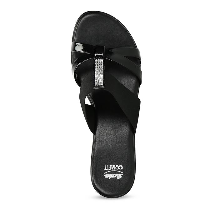 Czarne sandały zkryształkami na niskich obcasach comfit, czarny, 661-4611 - 17
