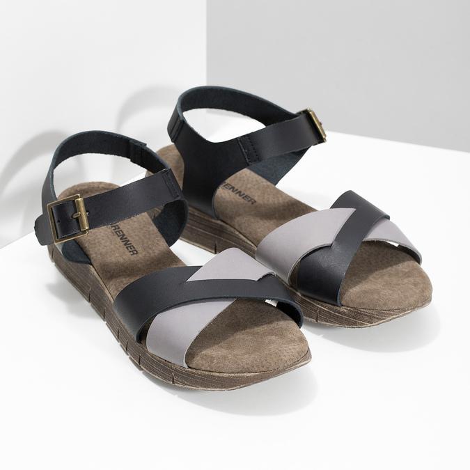 Szaro-czarne skórzane sandały damskie weinbrenner, czarny, 566-6641 - 26