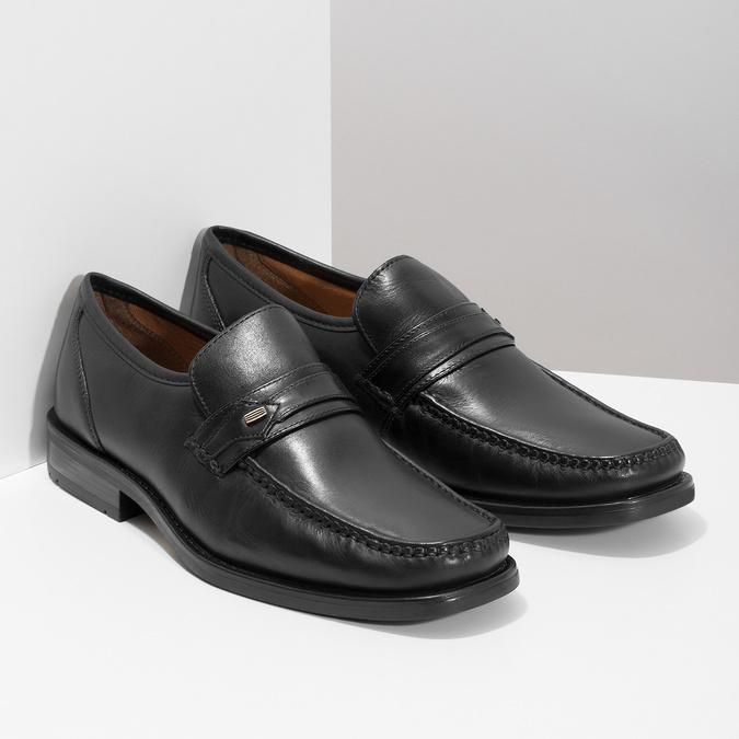 Czarne skórzane mokasyny męskie bata, czarny, 814-6625 - 13
