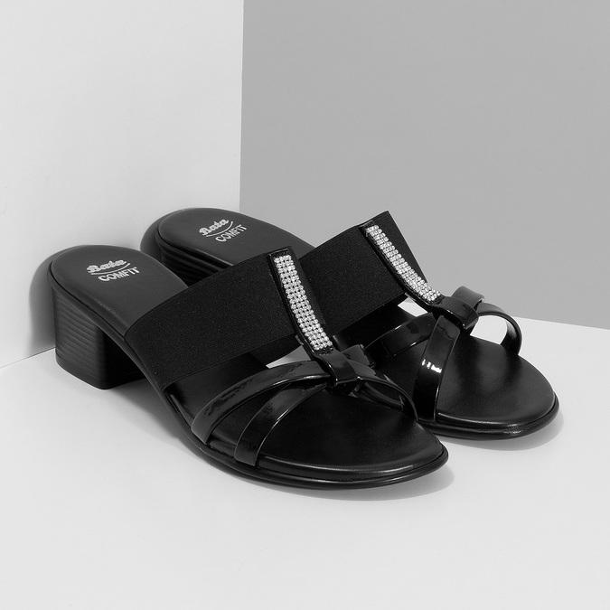 Czarne sandały zkryształkami na niskich obcasach comfit, czarny, 661-4611 - 26
