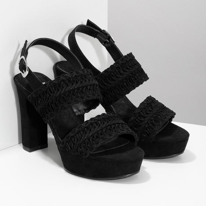 Czarne sandały damskie na słupkach, zwyplatanym wzorem bata, czarny, 769-6634 - 26