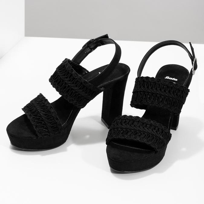 Czarne sandały damskie na słupkach, zwyplatanym wzorem bata, czarny, 769-6634 - 16