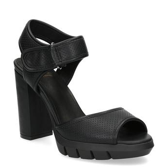 Sandały damskie na grubych słupkach flexible, czarny, 761-6616 - 13