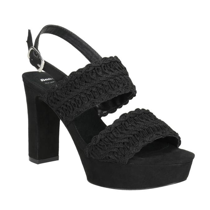 Czarne sandały damskie na słupkach, zwyplatanym wzorem bata, czarny, 769-6634 - 13