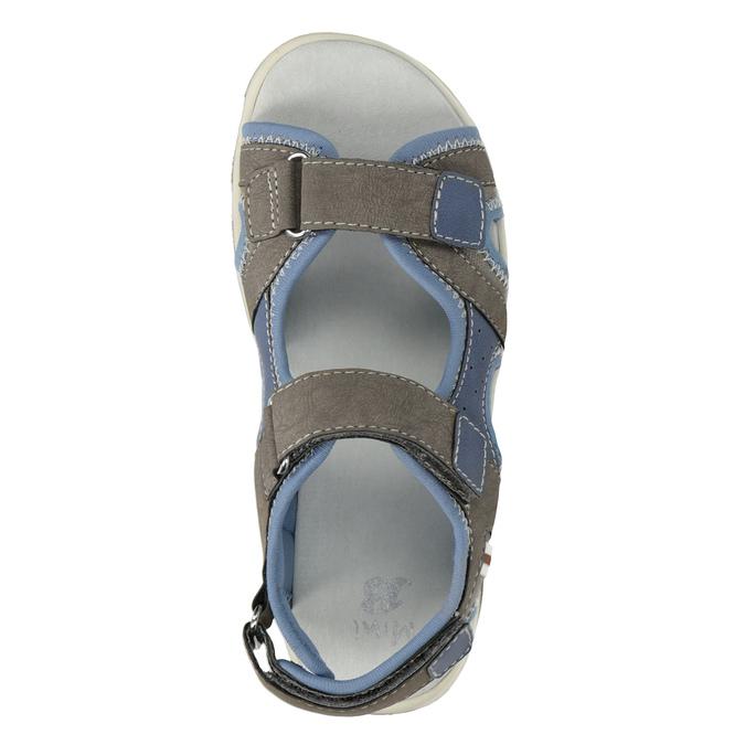 Szaro-błękitne sandały chłopięce zzapięciami na rzepy mini-b, brązowy, 261-3608 - 17