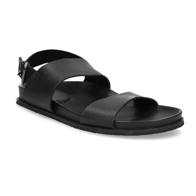Czarne minimalistyczne sandały męskie ze skóry bata, czarny, 866-6638 - 13