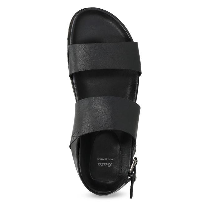 Czarne minimalistyczne sandały męskie ze skóry bata, czarny, 866-6638 - 17