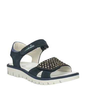 Granatowe skórzane sandały dziewczęce zkryształkami mini-b, niebieski, 463-9603 - 13
