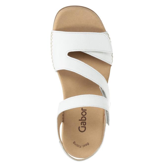 Białe skórzane sandały na rzepy gabor, biały, 666-1018 - 15