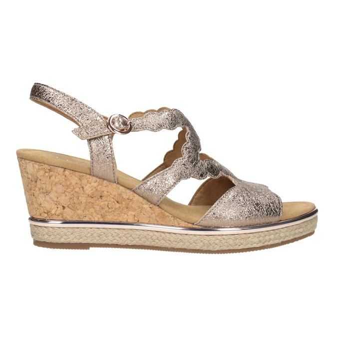 Złote skórzane sandały na platformie gabor, złoty, 766-8043 - 26