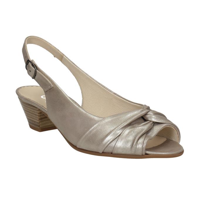 Skórzane sandały na stabilnych obcasach, oszerokościH gabor, złoty, 666-8020 - 13