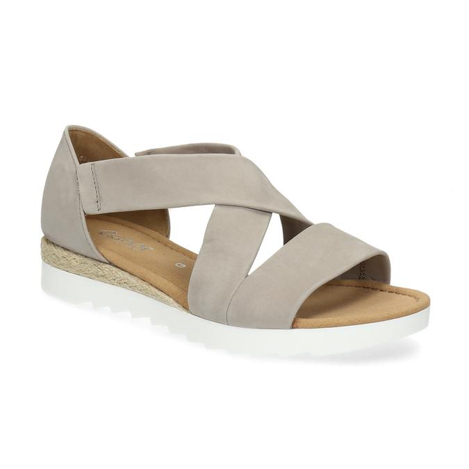 Skórzane sandały oszerokościG gabor, beżowy, 666-8347 - 13