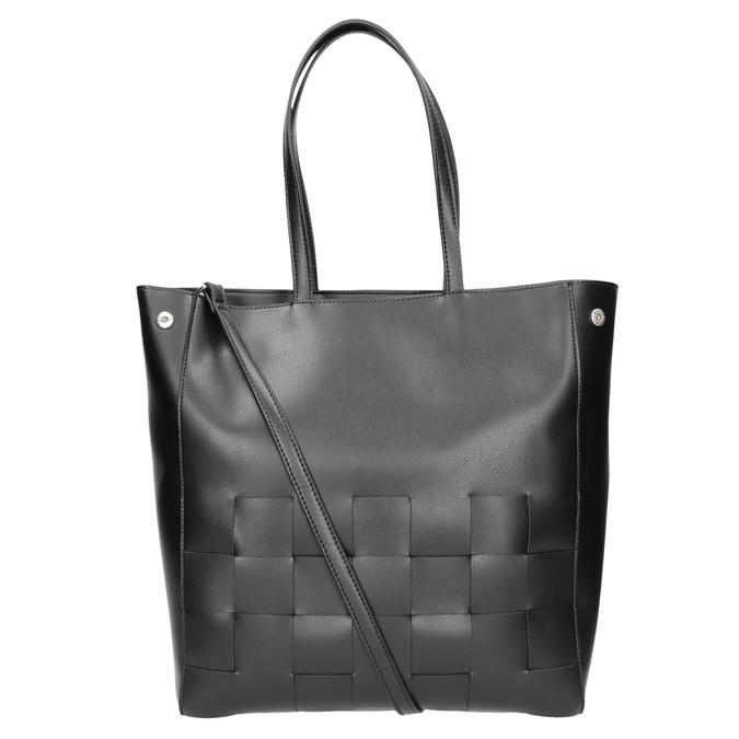 Czarna torebka zprzeplatanymi pasami bata, czarny, 961-6236 - 16